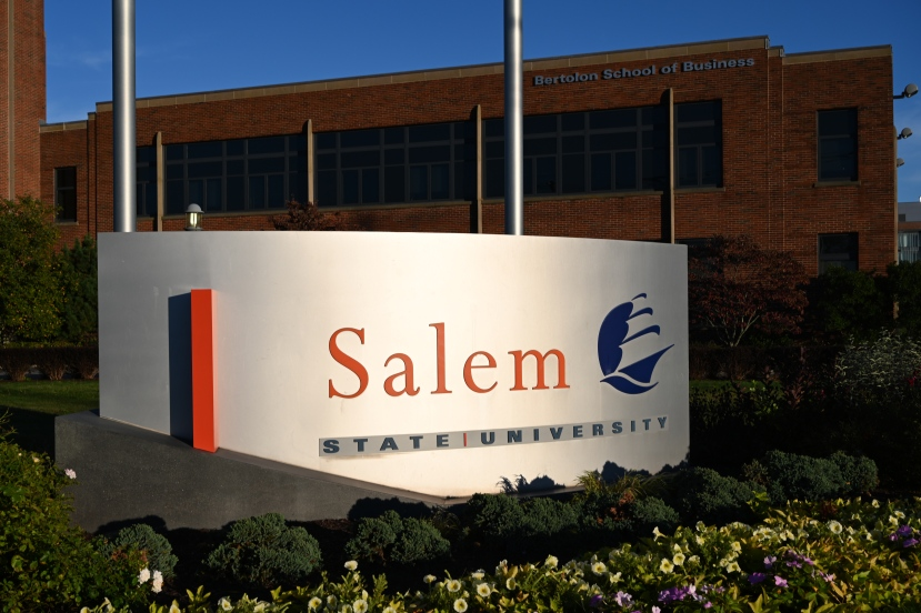 the Salem State University statue located at the Bertolon School of Business